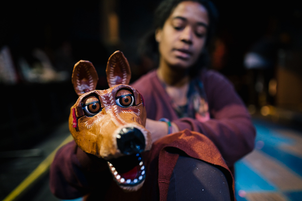 Torri Lynn Ashford with a puppet at Matrix Theatre
