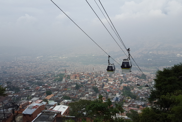 Metrocable, a link in Medellin�s dynamic public transit system, connects disparate neighborhoods and brings people together