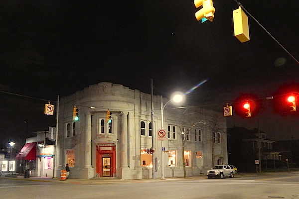 Bank Suey at night, intersection of Jos. Campau and Caniff