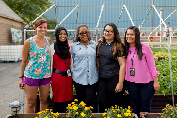 The Mercy Mignight Storm Robotics Team. From left to right, mentors Rachel Aptowitz and Nada Alhamdi, students Brianna Bryant and Kandis Chow, and Keysha Camps