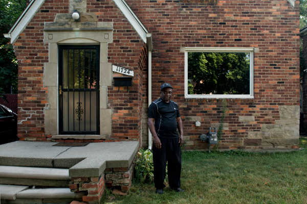 Walter Hicks in front of his home on Detroit's west side