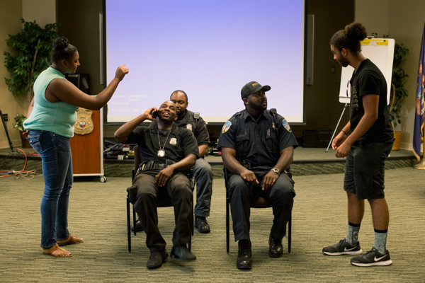 Students in the program roleplay as police officers