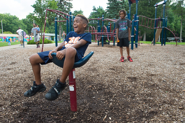 Kids having fun at the Palmer Park playground