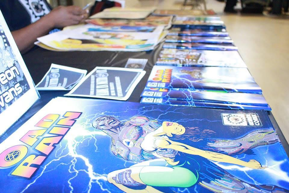 Comic books at a vendor display