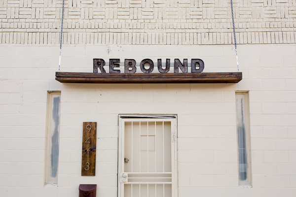 The door to Steven Harris's company, Rebound Construction