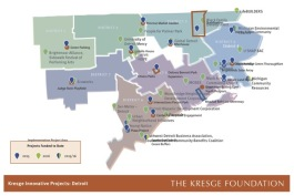 Map of grant winners for the Kresge Innovative Projects: Detroit program