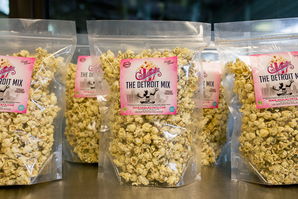 Packages of Cyntsational Popcorn