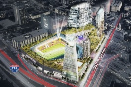 Rendering of the proposed mixed use development by Rock Ventures