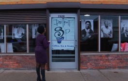 Jevona Watson, owner of Detroit Sip, outside her coffee shop