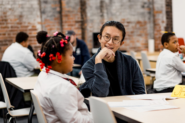Student and tutor at 826michigan's new Detroit location