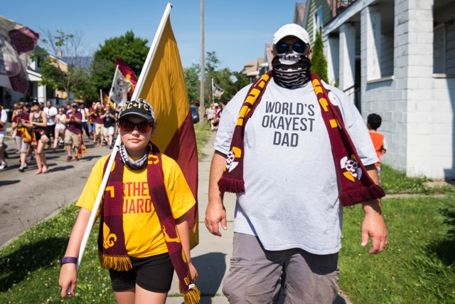 Father and daughter DCFC fans march to the match