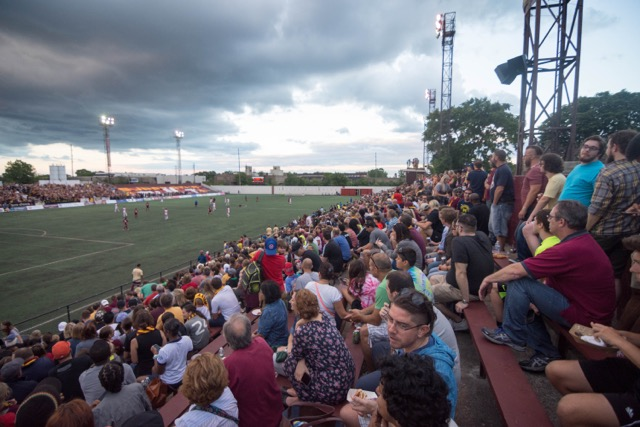 "The ""quiet"" side of Keyworth Stadium"