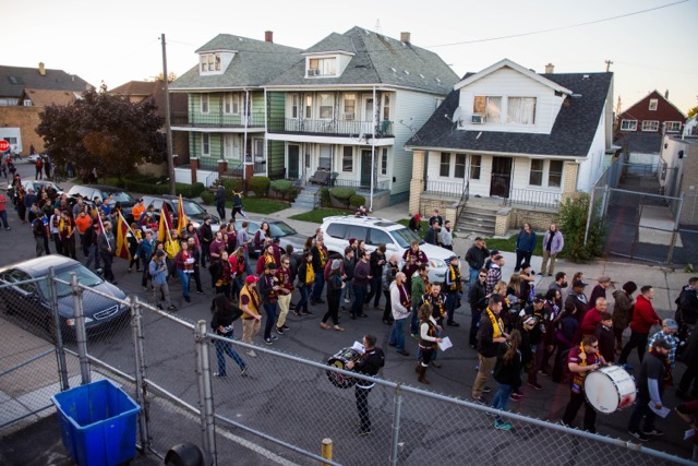 DCFC fans march through the streets of Hamtramck
