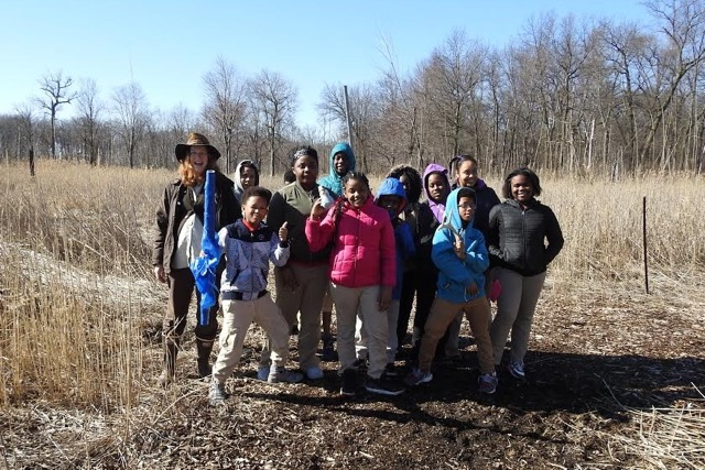 Students from Detroit's Bunch Academy at the Detroit International Wildlife Refuge