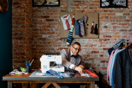 Ne'Gyle Beaman runs the shop Bleu Bowtique, a seller of custom ties