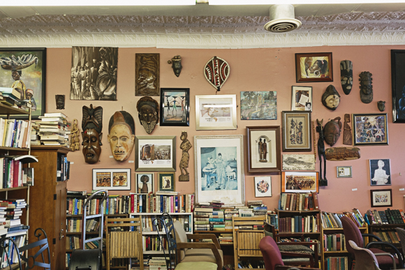 Collection of books and art at Nandi's Knowledge Café