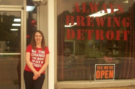 Amanda Brewington outside her coffee shop, Always Brewing Detroit, soon after opening
