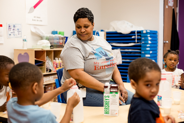 Teacher Tamika Nicks in one of Winston Head Start's updated classrooms