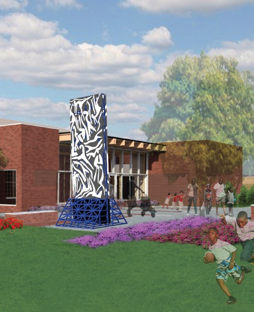 Rendering of the Charles McGee sculpture in North Rosedale Park
