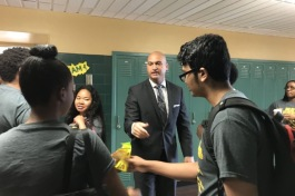 Detroit schools Superintendent Nikolai Vitti greets students participating in a summer math program at Wayne State University