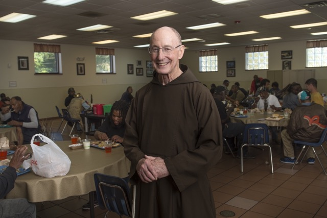 Brother Bob Malloy during lunch at the Capuchin Soup Kitchen