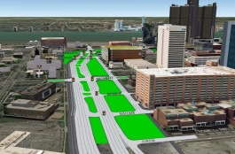 Rendering of surface streets after demo of I-375