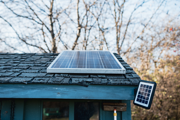 Solar panel on a shed at D-Town Farm