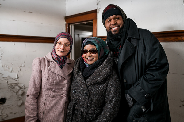 Hazel Gomez, Namira Islam, and Hasan Khalid in their newly purchased ARChouse