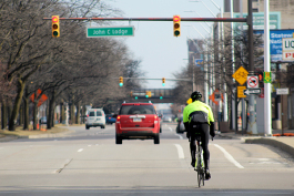Cyclist on Grand Blvd.