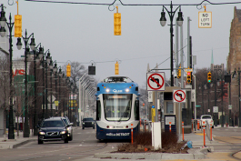 QLine streetcar on Woodward Avenue