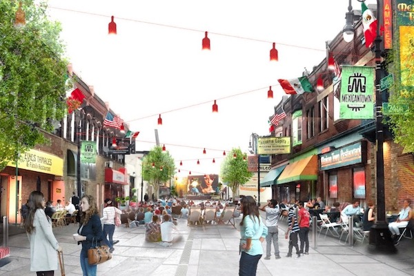 Rendering of shared street on Bagley