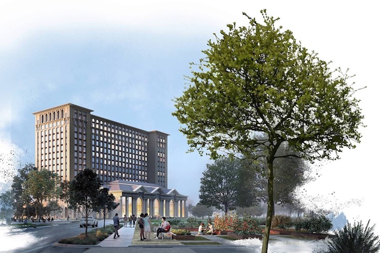 Rendering of renovated Michigan Central Station