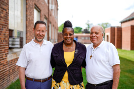 St. Suzanne leadership team: Steve Wasko, Theresa Hunter, and Deacon Chris Remus