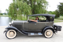 Antique Touring founder Lisa Stolarski in a Model A