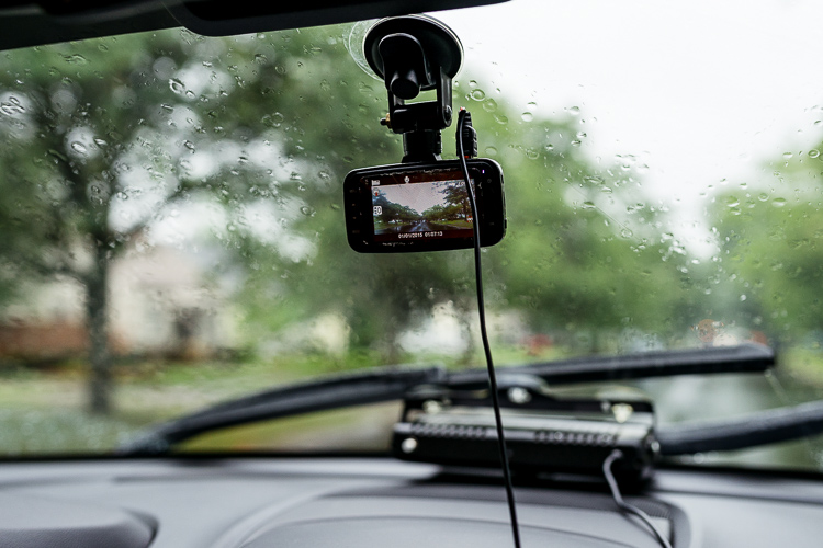 Joe keeps on a dash cam that hangs below his mirror to record their two hour drive.