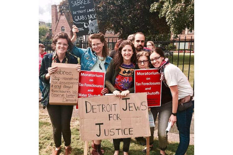 Members of Detroit Jews for Justice protest tax foreclosures in Detroit