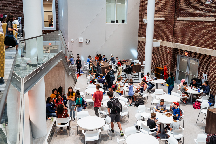 A newly built commons area at Roeper, which promotes students from different classes to interact with each other