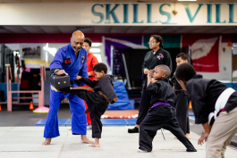 Kids learning karate at Skills Ville