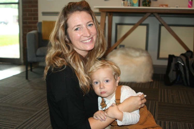 Site Director Kelly Cochell and her son Henry