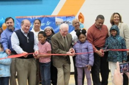 Mayor Mike Duggan and residents celebrate the re-opening of the Kemeny Recreation Center