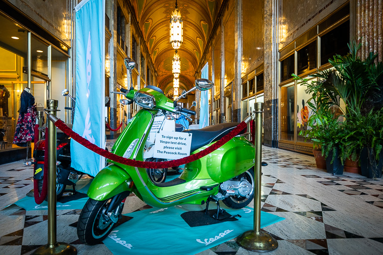 Vespa as part of a pop-up in the Fisher Building