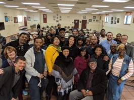 Before a session of Street Outreach Court Detroit at the Capuchin Soup Kitchen in October - courtesy of Street Democracy