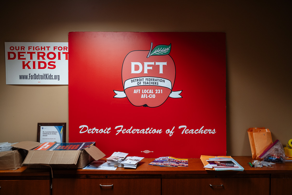 In side the office of the Detroit Federation of Teachers