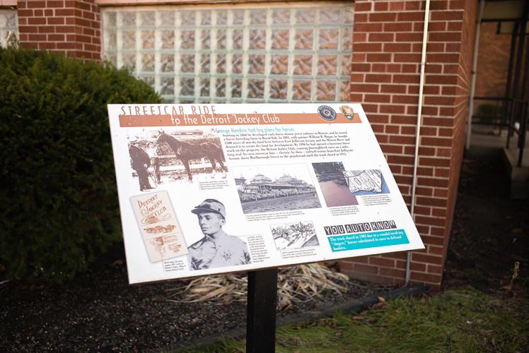Historical marker for the Detroit Jocke Club