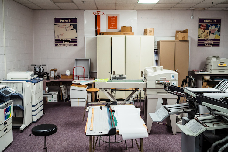 Workspace in the Graphics and Printing Technology room