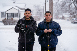Detroit Snow Team volunteers Rico Razo and Ben Castaneda
