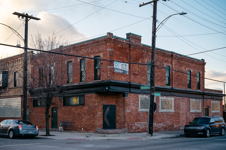 Exterior of Kiesling, a cocktail bar in Milwaukee Junction
