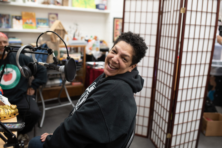 Lottie Spady smiles during a recording of Black Gold at KAN Books