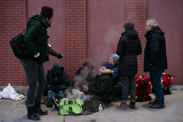 Detroit Street Care helps a group of four homeless people in Greektown