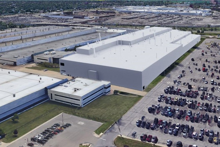 This rendering shows FCA's vision for a new Detroit factory on the Mack Engine Complex site.